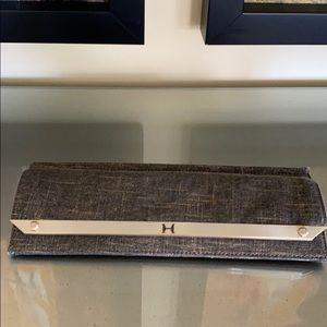 Halston Heritage Gold Textured Clutch